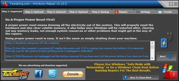Windows Repair power reset