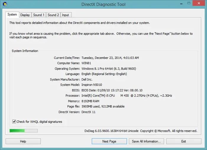 DirectX dxdiag