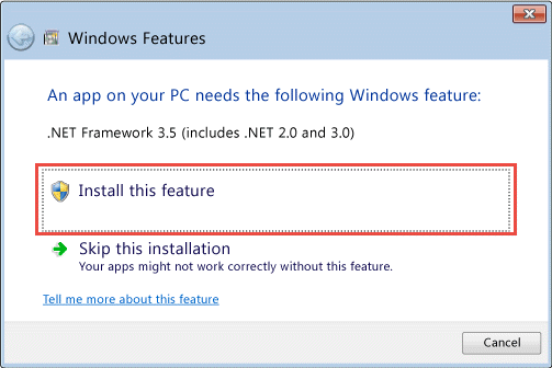 .NET Framework 3.5 installation on demand