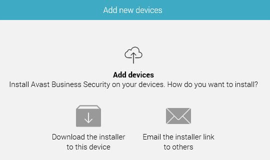 Add new devices Avast management console