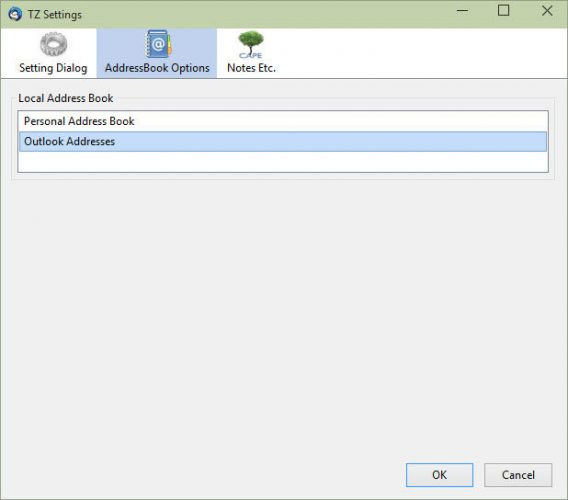 Outlook Addresses AddressBook selected