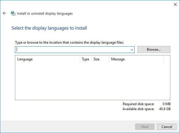 lpksetup language pack installation