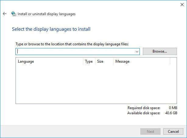 lpksetup language pack installation