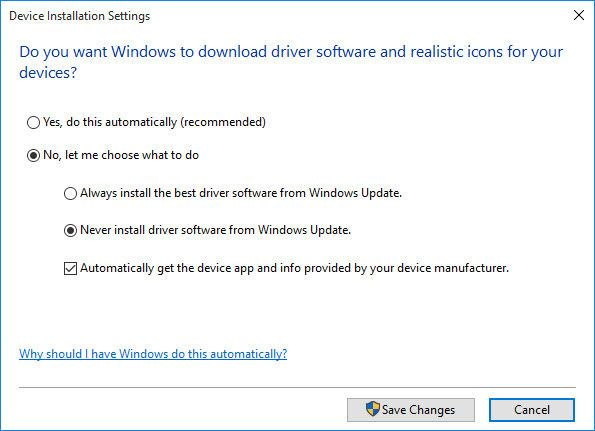 Device installation settings for disabling driver updates from Windows Update