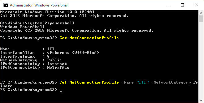 PowerShell command to change network type