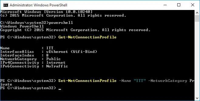 PowerShell command to change network type