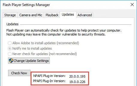Flash Player check version installed