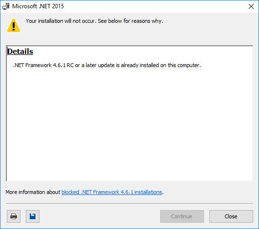 .NET Framework 4.6.1 installation