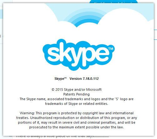 Skype version 7.18.0.112