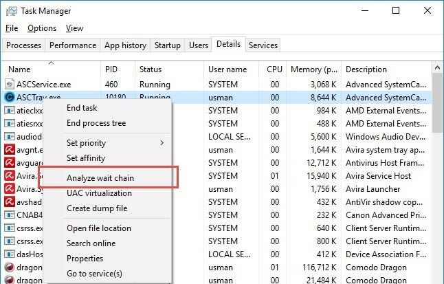 Task Manager Analyze wait chain