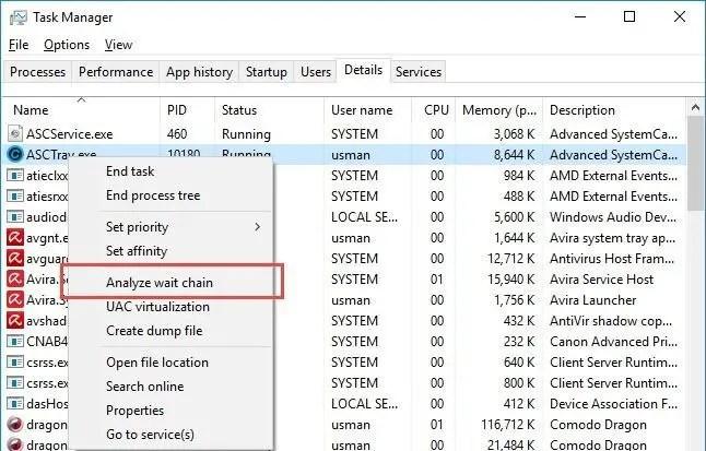Task Manager Analyze wait chain