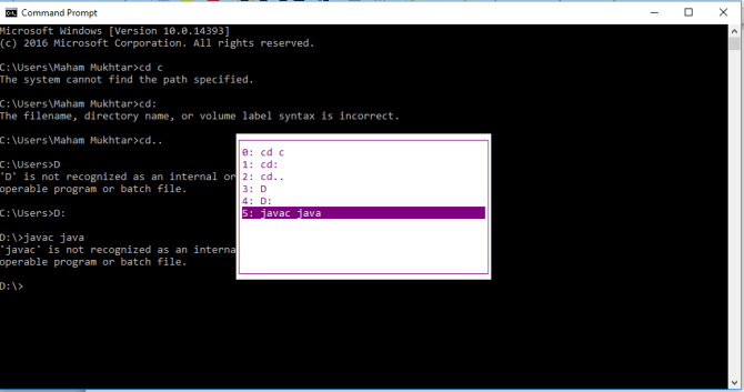 View command prompt history using F7 key