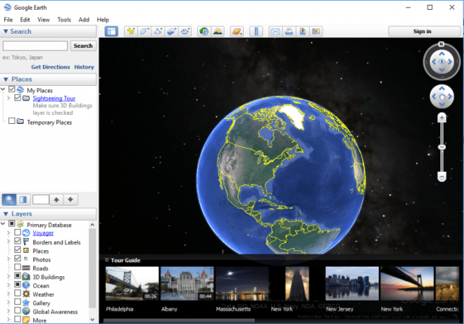 Download google earth offline installer direct download link the main window of google earth will look like this you can enter any location to view it through google earth gumiabroncs Gallery