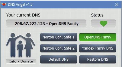 1 - Enable Family Protection In Windows 10 Using DNS Angel