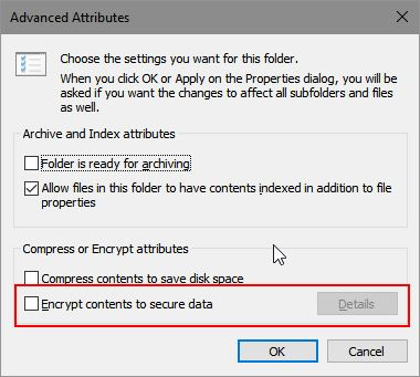 "10 56 19 Advanced Attributes - 2 Ways To Fix ""Encrypt Contents To Secure Data"" Option Grayed Out In Windows 10"