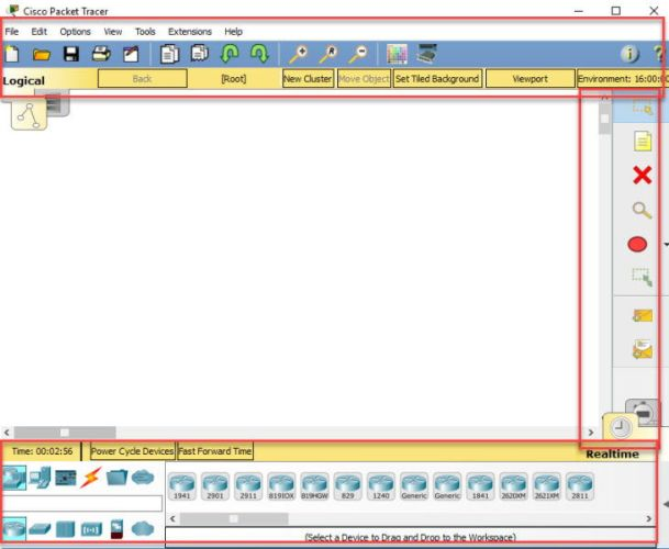 Cisco Packet Tracer 7.1.1 action pane and menu