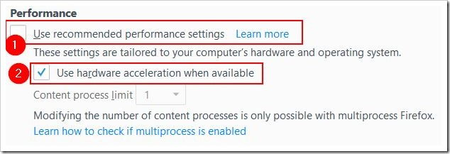 disable hardware acceleration in firefox 55 performance settings
