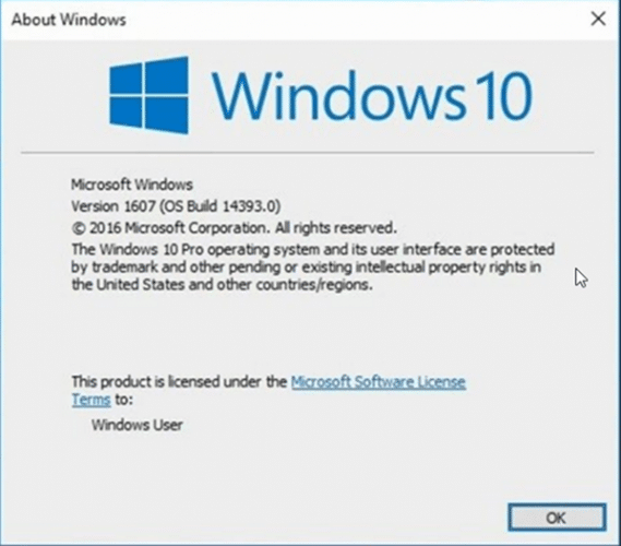Checking Windows Version Windows 10 Version 1607