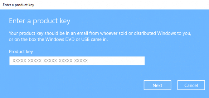 Enter a product key in Windows 10