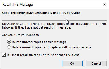 Recall this message options window