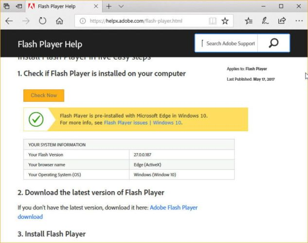 Check Flash Player Version in Microsoft Edge browser