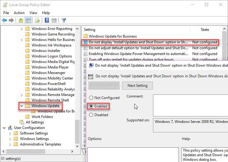 disable update and shut down option in group policy