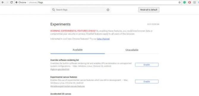 Google Chrome 63 Flag Page