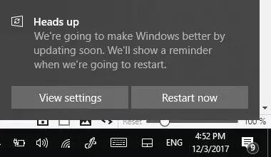 Restart Windows 10 after update
