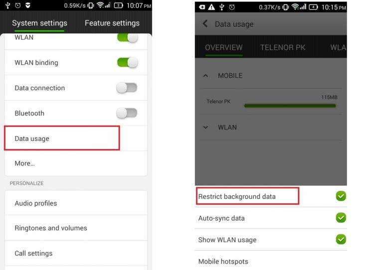 Restrict background to reduce data usage in Android