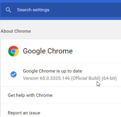 Download Google Chrome 65 after install