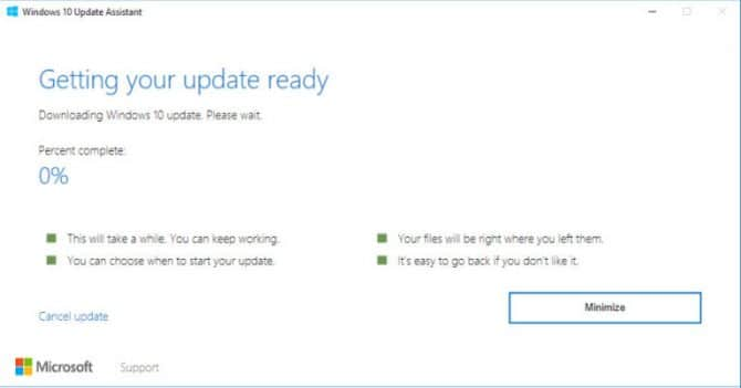 Downloading and installing Windows 10 Version 1803