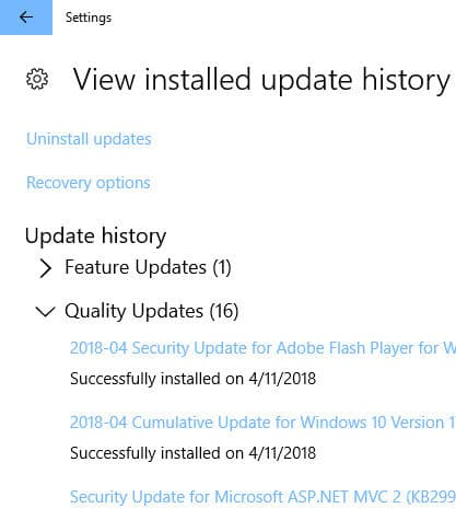 View Windows Updates history KB4093107