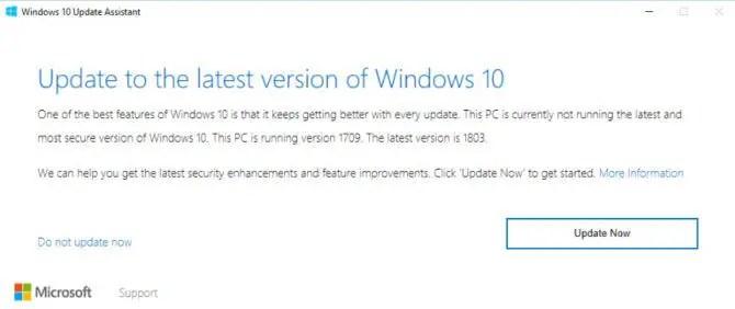 Windows 10 Version 1803 Upgrade Assistant