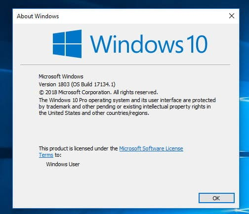 Windows 10 Version 1803