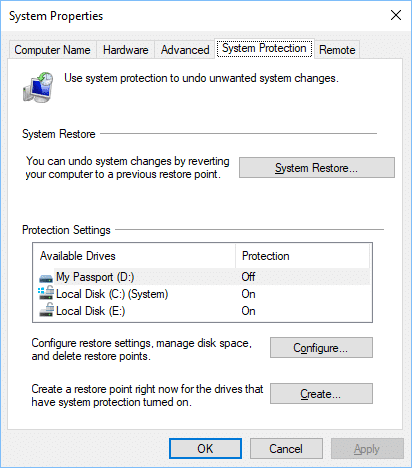 Create a restore point in Windows 10