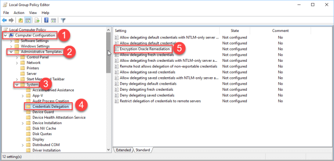 Credentials Delegation group policy
