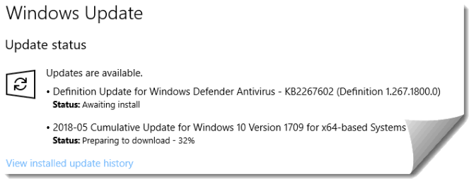Downloading KB4103714 cumulative update for Windows 10 Version 1709