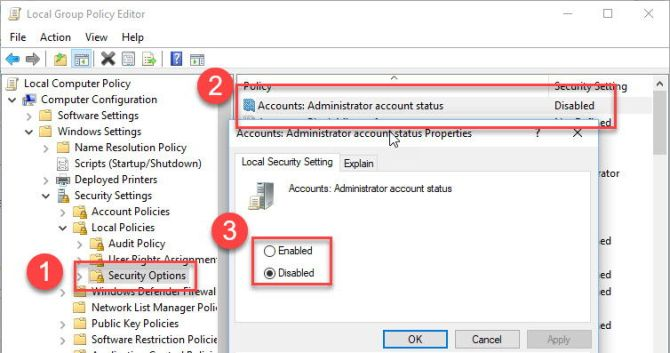 Group Policy to enable Administrator account