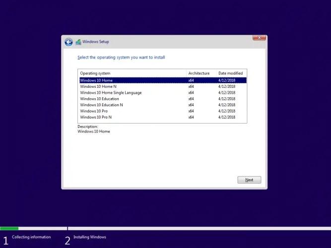 Windows 10 Version 1803 Edition Selection