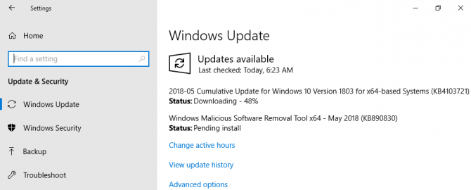 Windows Update installing KB4103721 for Windows 10 Version 1803