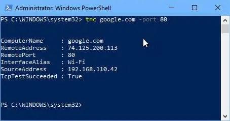 Checking open port using PowerShell