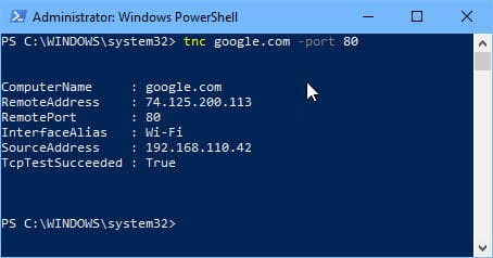 Checking open port using PowerShell