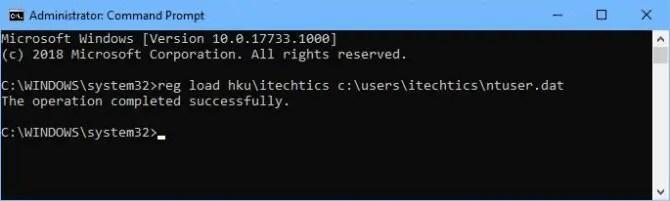 Loading User registry in Registry Editor