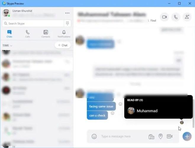 Read receipts in Skype