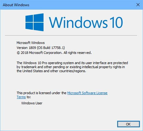 Windows 10 Version 1809 winver