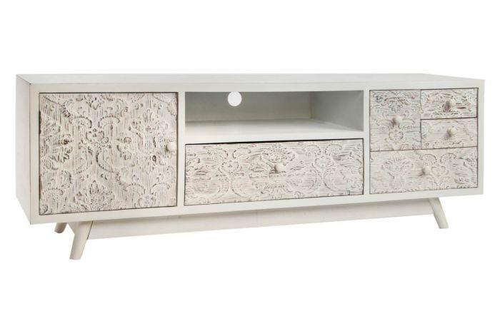 meuble tv bois sculpte 150x40x51 4