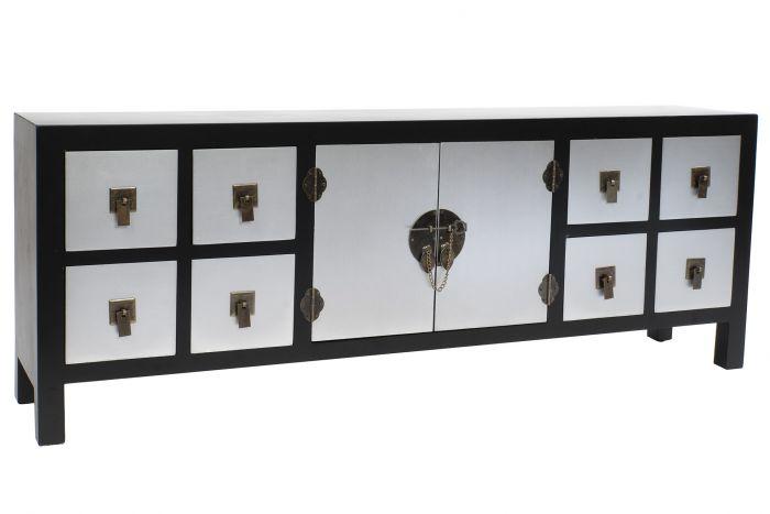 meuble tv mdf bois massif 130x24x51