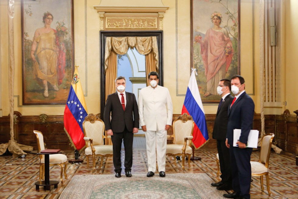 Russian Ambassador Sergey Melik-Bagdasarov during the letter of credence ceremony in March 2020 (Photo/Venezuela's Ministry of Communication and Information)