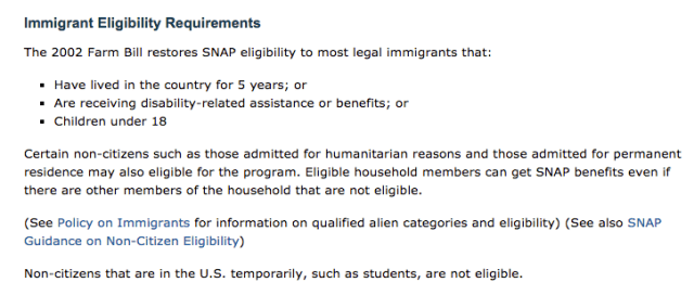 """""""food stamps for immigrants"""""""