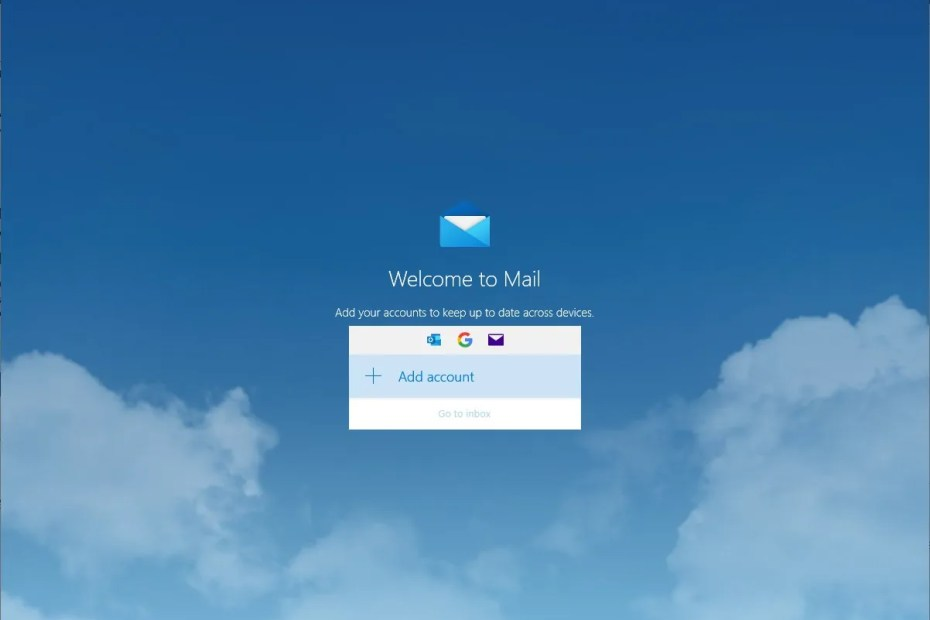 Windows 10 Mail-app, Add Account